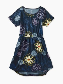 Tea Collection Lilypad Floral Elastic Waist Dress