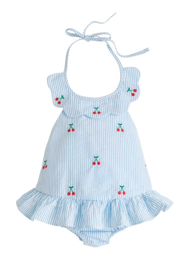 Little English Cherry Scallop Swimsuit