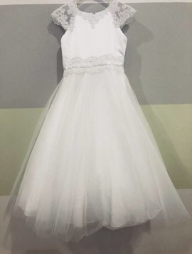 Lace Cap Sleeve Communion Dress