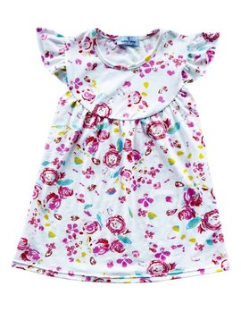 looking glass White Floral Flutter Dress