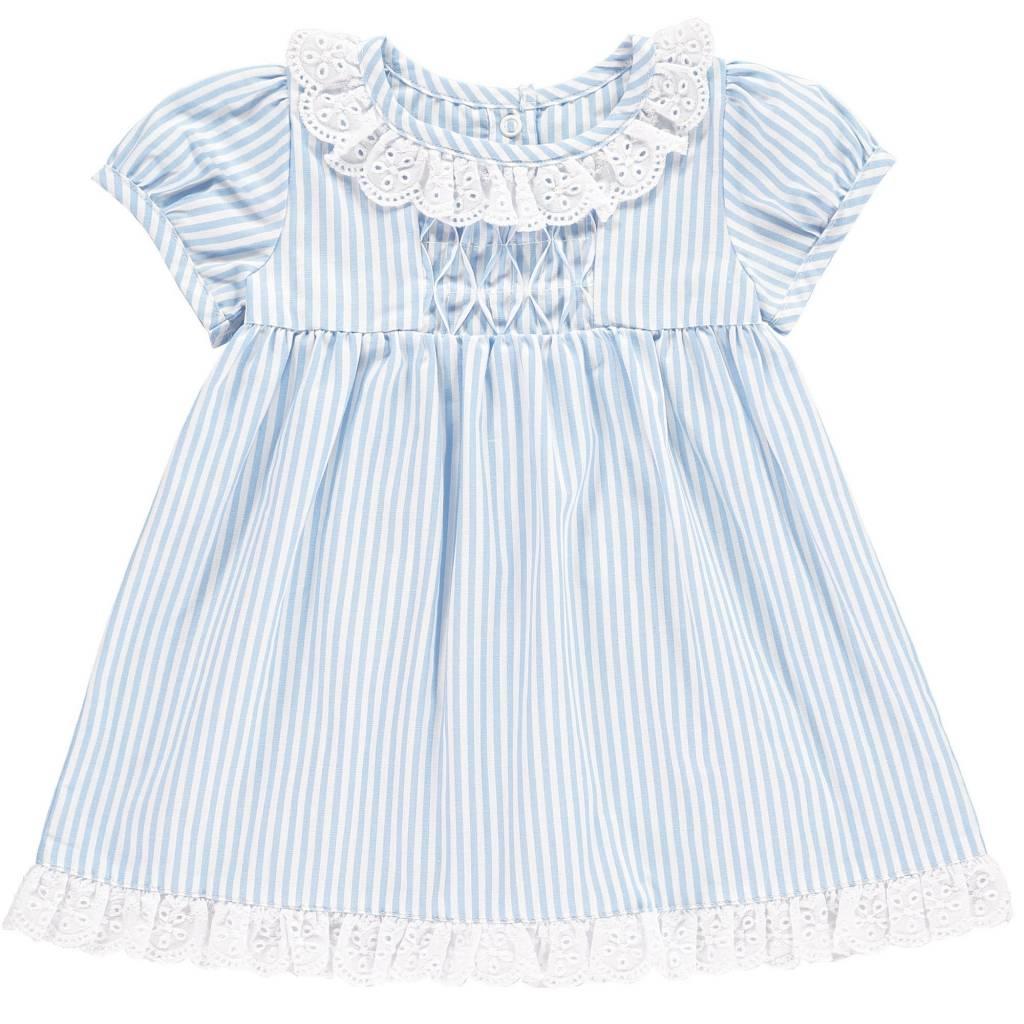 Rachel Riley Broderie Trim Striped Dress