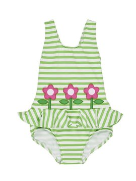 Florence Eiseman Green Stripe Tank with Flowers