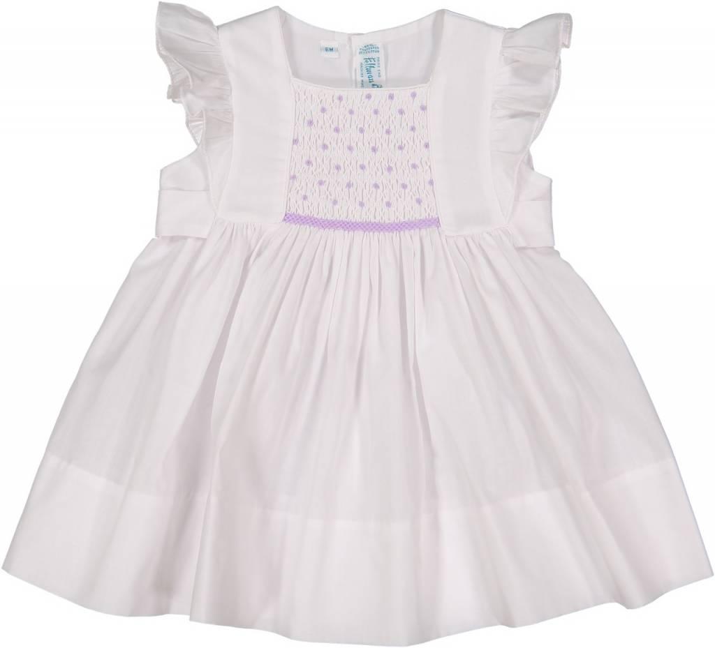 Feltman Brothers Lavender Smocked Flutter Sleeve Dress