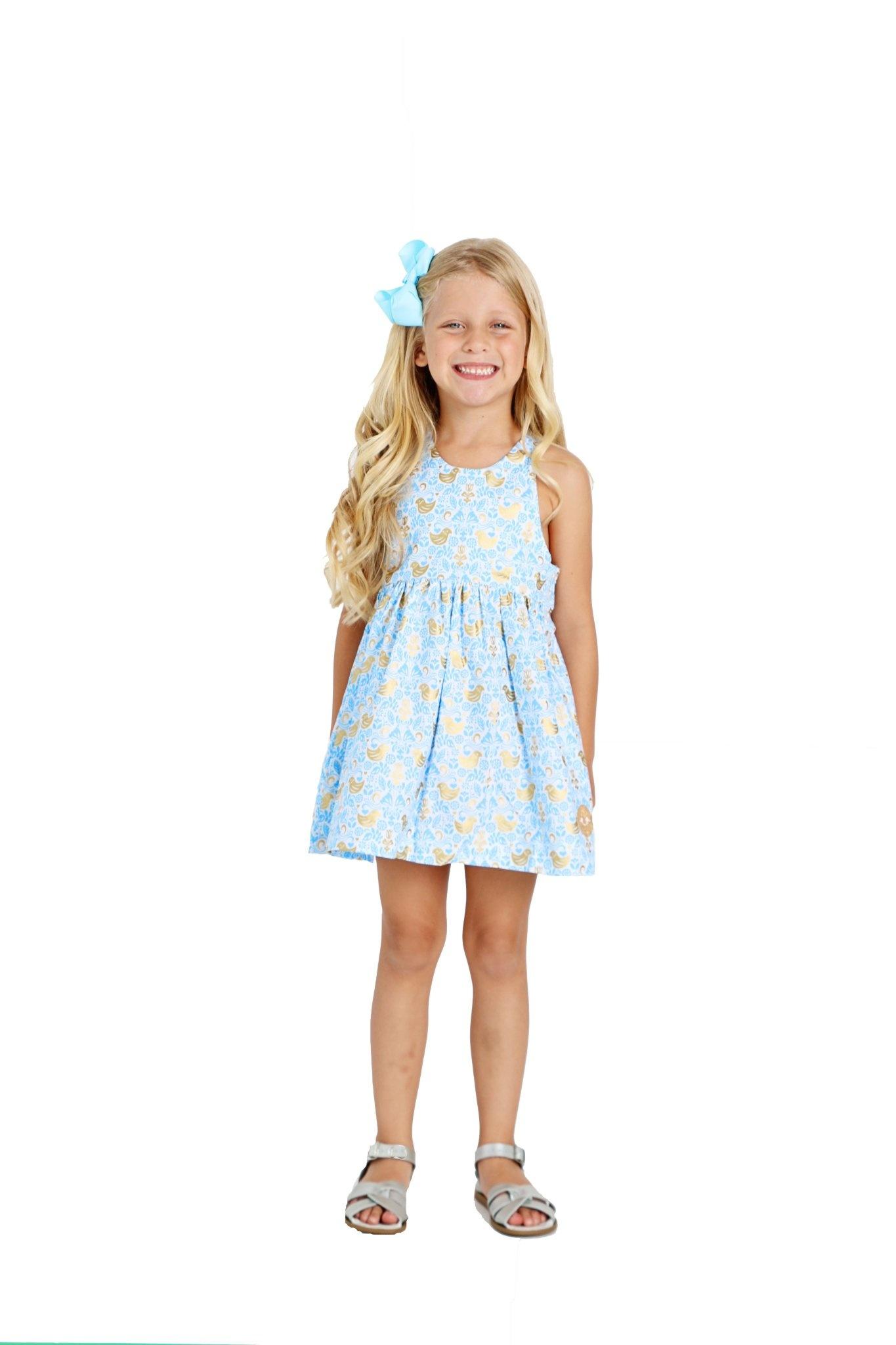 Smiling Button Golden Chickadee Dress