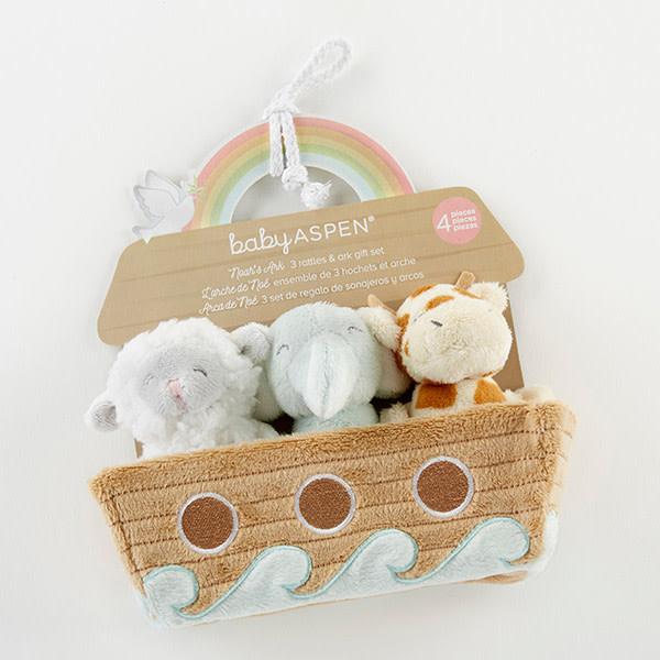 Baby Aspen Noah's Ark Rattle Set