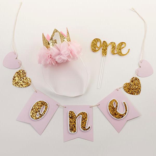 Baby Aspen Gold Glitter First Birthday Kit