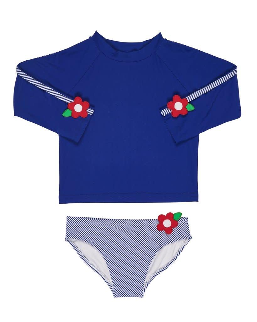 Florence Eiseman Flower Trim Dark Blue Swimsuit