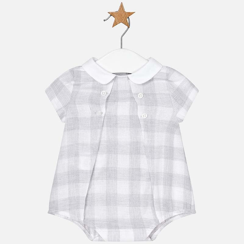 Mayoral Silver Linen Plaid Romper
