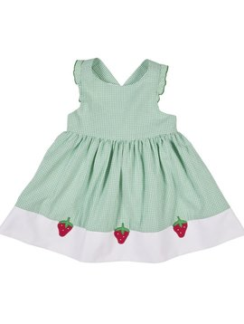 Florence Eiseman Green Seersucker Strawberry Dress