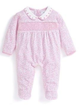 JoJo Maman Bebe Pink Pretty Smocked Sleepsuit