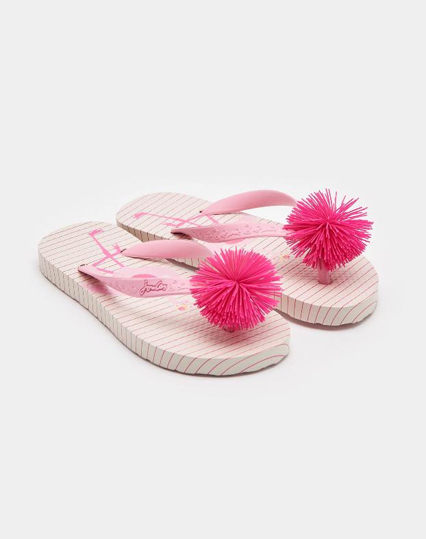 Joules Pink Flamingo Stripe Flip Flop