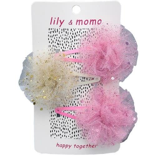 Lily and Momo Glitter Pom Pom Trio Clip