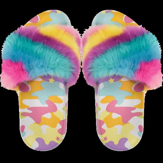 Iscream Rainbow Camo Fur Slides