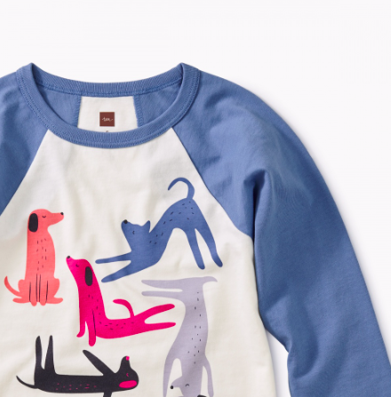 Tea Collection Yoga Dogs Graphic Raglan Tee