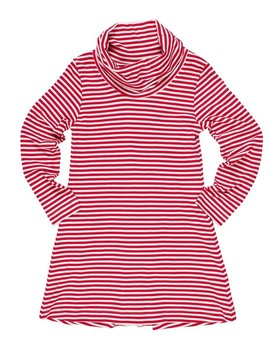 Florence Eiseman Cerise Stripe Cowl Neck Dress