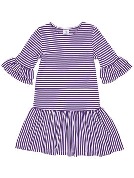 Florence Eiseman Purple Stripe Ruffle Dress