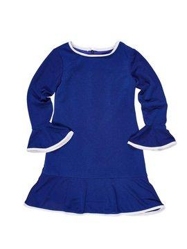 Florence Eiseman Royal Crepe Dress w/Bell Sleeve