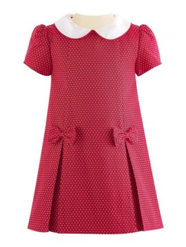 Rachel Riley Red Pin Dot Damask Shift