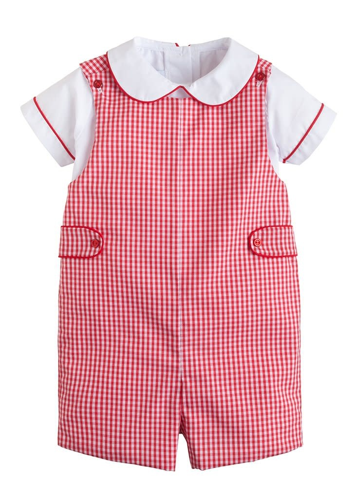 Little English Red Plaid John John Set