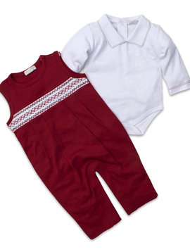 Kissy Kissy Smocked Overall Set