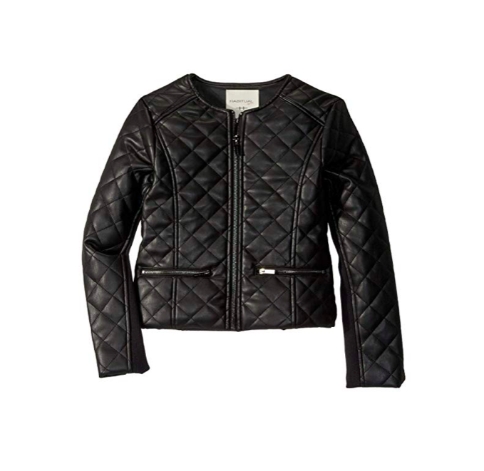 Habitual Faux Leather Quilted Jacket
