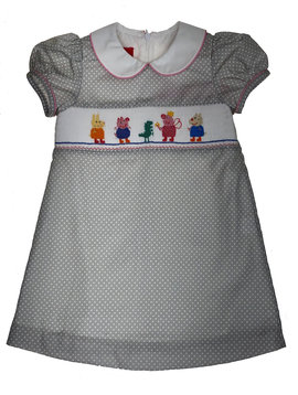 Claire & Charlie Piggy Family Smocked Dress