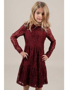 Mini Molly Dark Red Lace Dress