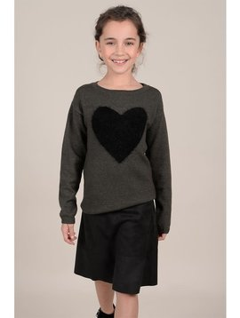 Mini Molly Khaki Heart Sweater