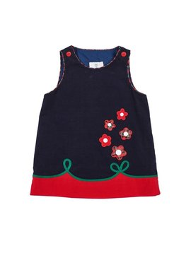 Florence Eiseman Navy Cord Jumper w/ Flowers