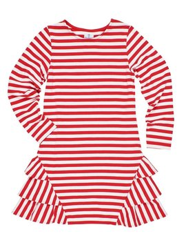 Florence Eiseman Side Ruffle Red Stripe Dress