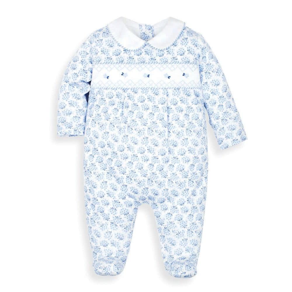 JoJo Maman Bebe Blue Smocked Sleepsuit