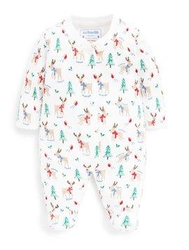 JoJo Maman Bebe White Reindeer Sleepsuit