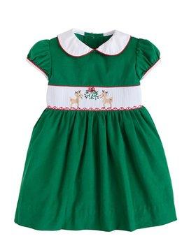 Little English Reindeer Smocked Charlotte Dress