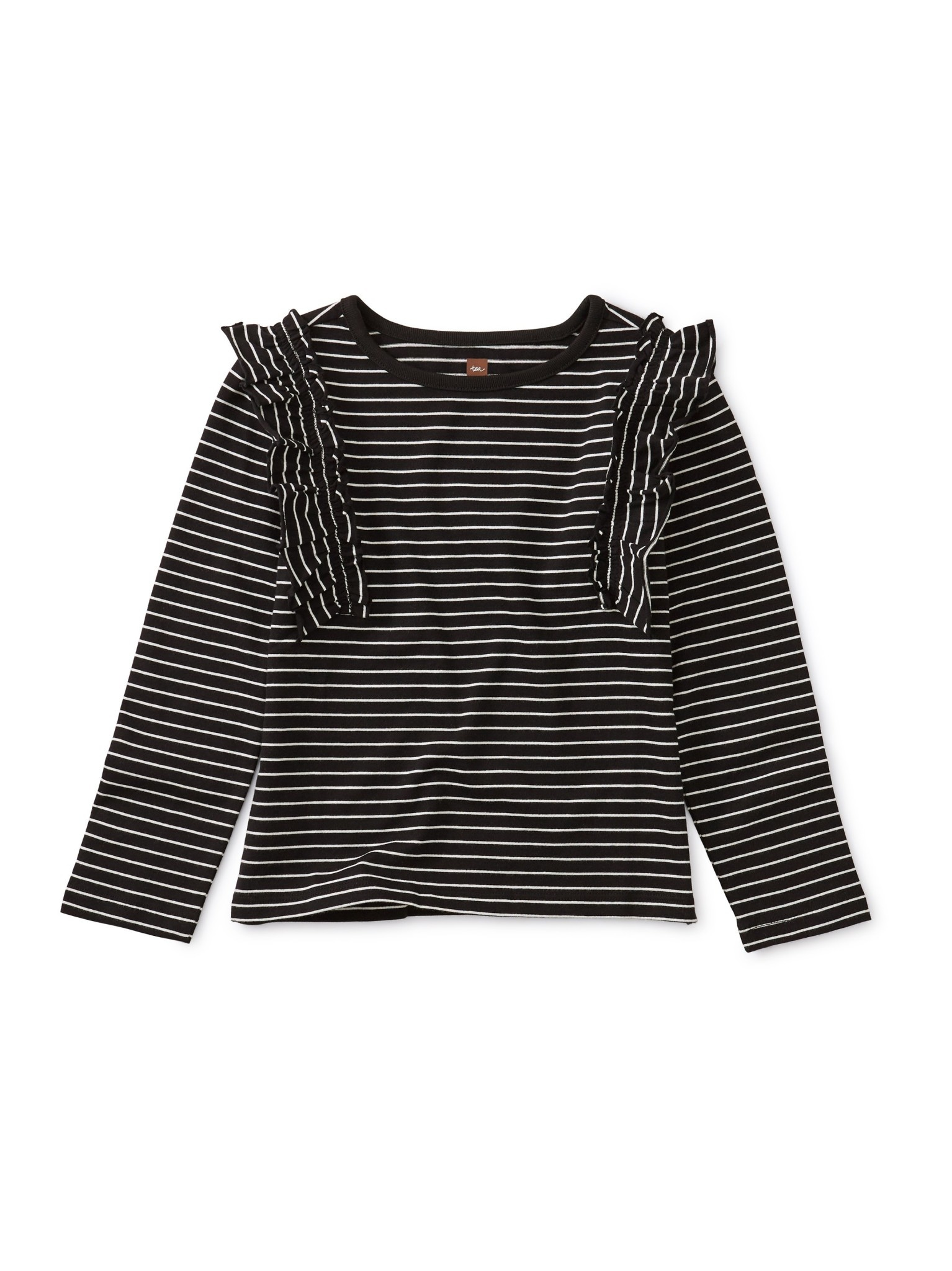 Tea Collection Striped Ruffle Flutter Top