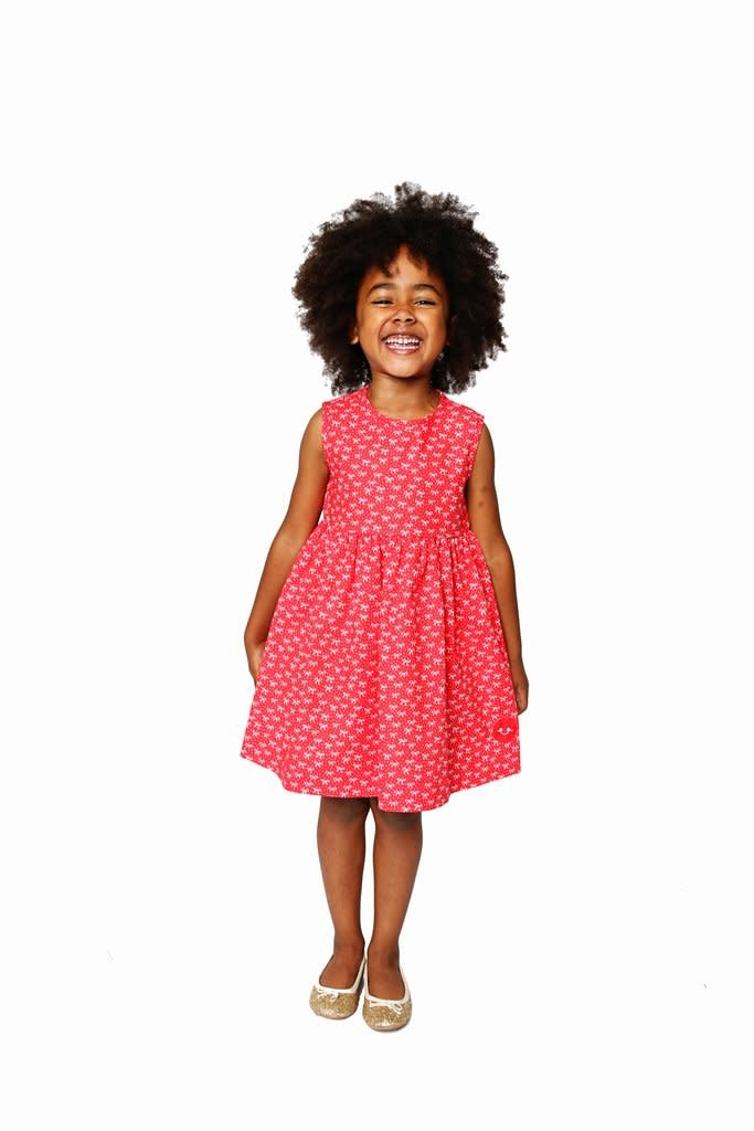Smiling Button Little Red Bow Pinny