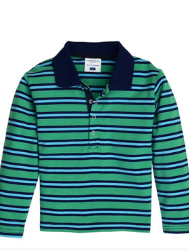 toobydoo Green Stripe L/S Polo