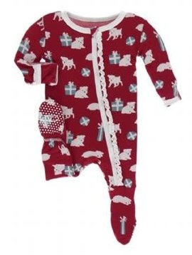 Kickee Pants Puppies & Presents Ruffle Footie