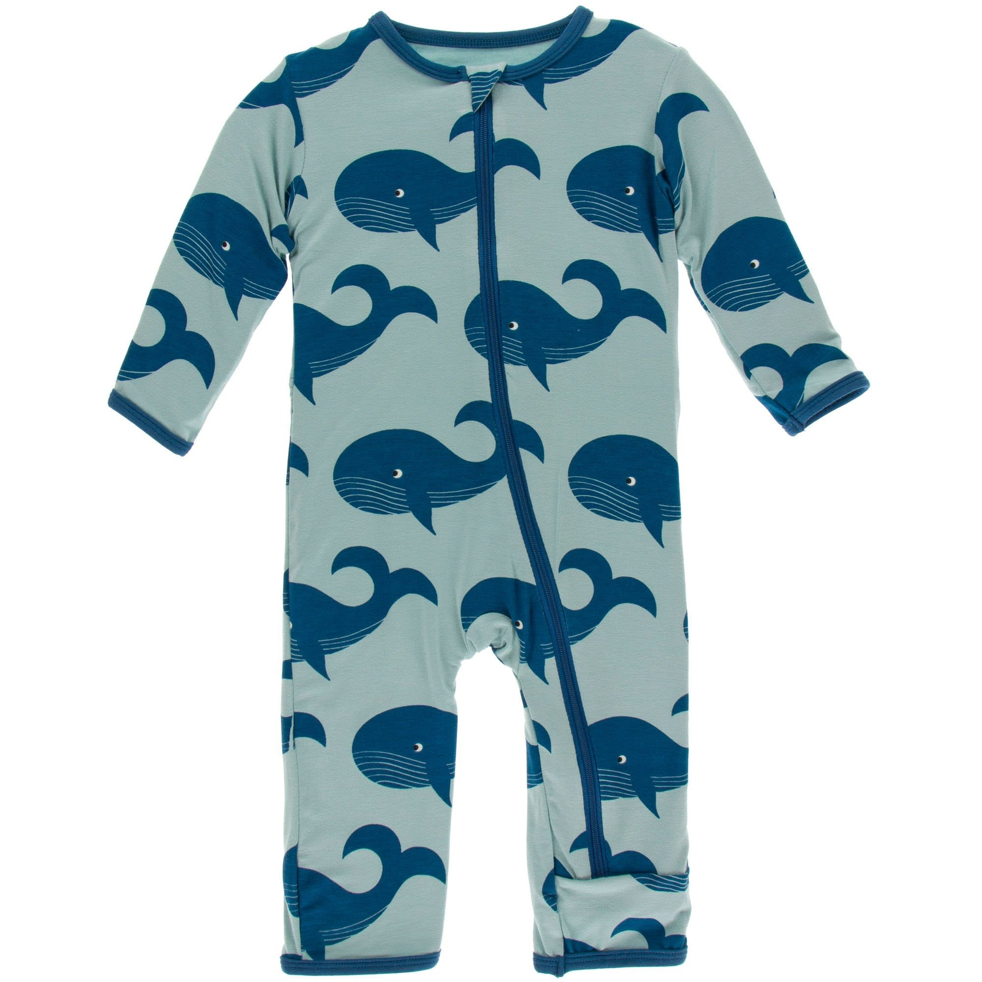 Kickee Pants Coverall with Snaps Jade Whales