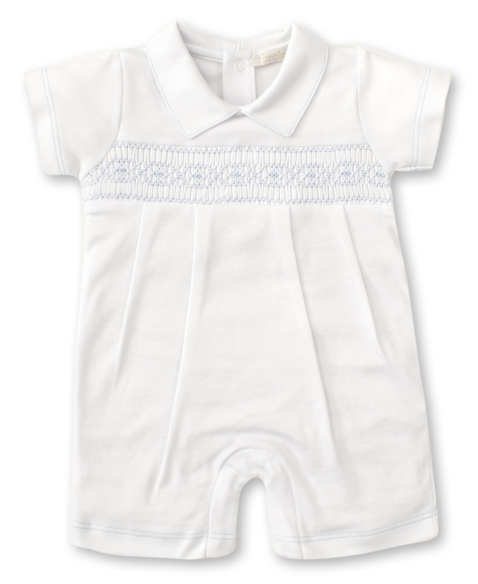 Kissy Kissy White w/Blue Smocking Playsuit