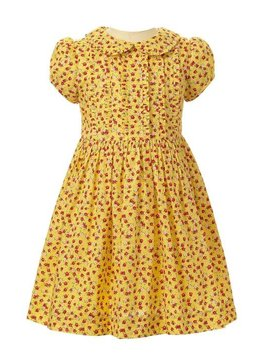 Rachel Riley Yellow Floral Frill Front Dress