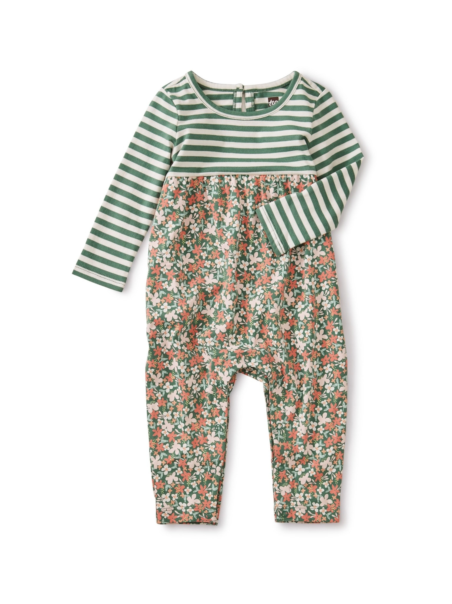 Tea Collection Cyprus Floral Two-Tone Romper