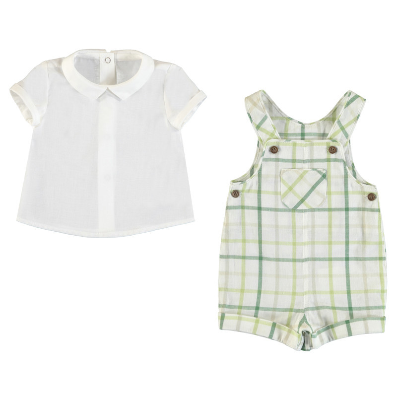 Mayoral Green Plaid Overall Set