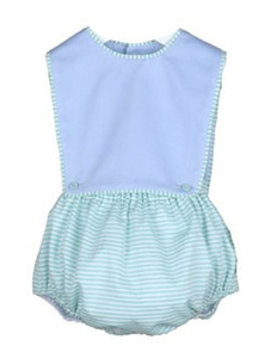 Sophie and Lucas Spring Green Stripe Overall