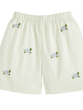 Little English Turtle Embroidered Shorts