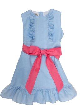 The Oaks Apparel Leanne Blue Linen Dress
