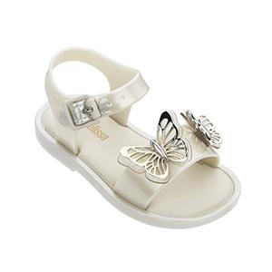 Mini Melissa White Silver Butterfly Sandal