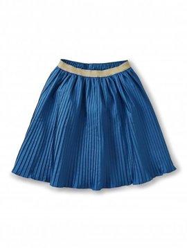 Tea Collection Blue Metallic Waist Pleated Skirt