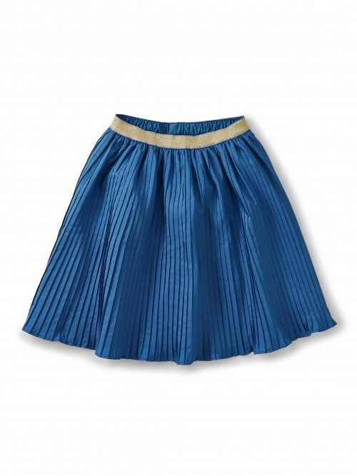 Tea Collection Blue Metallic Waist Pleated Skirt