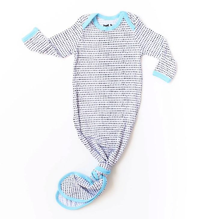 Little Sleepies Blue Trim Polka Dot Knotted Gown