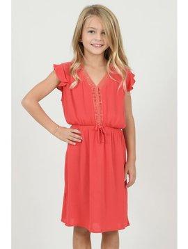 Mini Molly Red Coral V Neck Dress